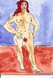 Art: Wrestling Woman original ACEO by Artist Nancy Denommee
