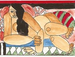 Art: Afternoon After Leger original ACEO painting by Artist Nancy Denommee