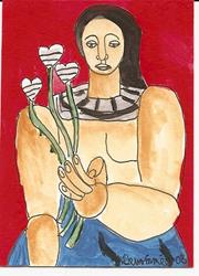 Art: Woman with Flowers after Leger ACEO painting by Artist Nancy Denommee
