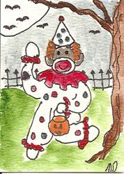 Art: Sock Monkey is a  Clown by Artist Nancy Denommee