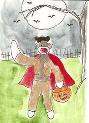 Art: Sock Monkey is a Bullfighter ACEO ATC by Artist Nancy Denommee