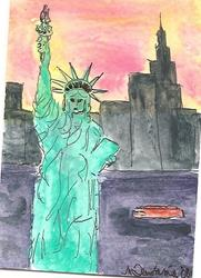 Art: Lady Liberty original ACEO ATC painting by Artist Nancy Denommee