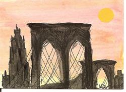 Art: The Brooklyn Bridge ACEO ATC painting by Artist Nancy Denommee