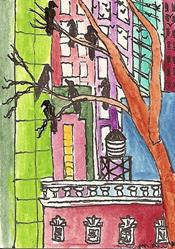Art: New York City Roost ACEO by Artist Nancy Denommee