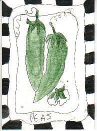 Art: PEAS onepaintingaday by Artist Nancy Denommee