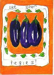 Art: Eat Your Vegies! one ATC per day by Artist Nancy Denommee