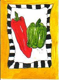 Art: PEPPERS one ATC per day by Artist Nancy Denommee