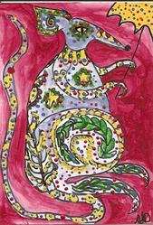 Art: Rat Fancy original ATC painting by Artist Nancy Denommee