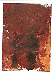 Art: Dark Earth original abstract ATC by Artist Nancy Denommee