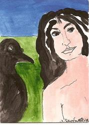 Art: My Friend and I original ACEO painting by Artist Nancy Denommee