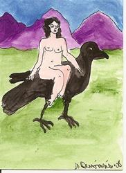 Art: Hitching a Ride original ACEO painting by Artist Nancy Denommee