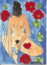 Art: Poppy ACEO painting by Artist Nancy Denommee