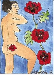 Art: The Poppy Tattoo original ACEO by Artist Nancy Denommee