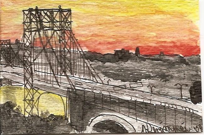 Art: George Washington Bridge at Dusk by Artist Nancy Denommee