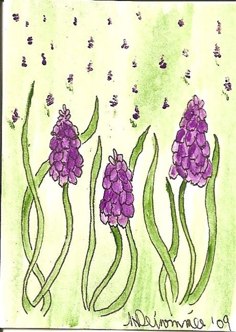 Art: Field of Muscari ACEO by Artist Nancy Denommee