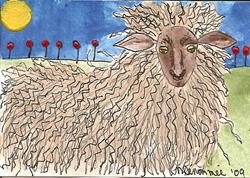 Art: Curly Sheep with Poppies by Artist Nancy Denommee