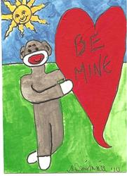 Art: Sock Monkey Says Be Mine by Artist Nancy Denommee