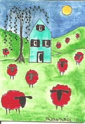 Art: Red Sheep Under the Sun by Artist Nancy Denommee
