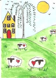 Art: Sheep With Hearts ACEO by Artist Nancy Denommee