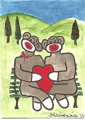 Art: Sock Monkey and his Sweetheart ACEO by Artist Nancy Denommee
