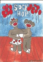 Art: Sock Monkey at the Sock Hop by Artist Nancy Denommee