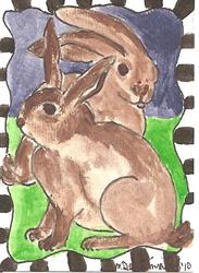 Art: Hunny Bunny Duo by Artist Nancy Denommee
