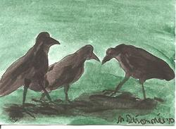 Art: Crow Triumvirate SOLD by Artist Nancy Denommee