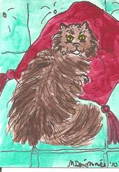 Art: Cat on Red Satin Cushion by Artist Nancy Denommee