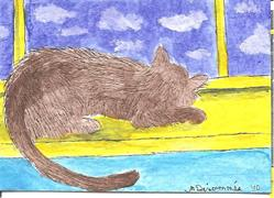 Art: Kitty Watching the Clouds  by Artist Nancy Denommee