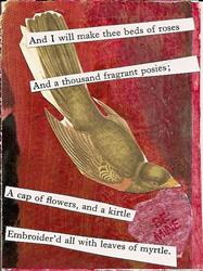 Art: I Will Make Thee Beds of Roses original collage ACEO by Artist Nancy Denommee