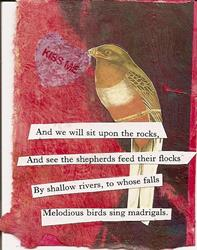 Art: And We Will Sit Upon the Rocks original collage ACEO by Artist Nancy Denommee