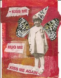 Art: Kiss Me Hug Me Kiss Me Again original collage ACEO by Artist Nancy Denommee