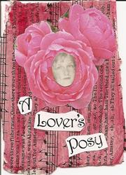Art: A Lover's Posy original collage by Artist Nancy Denommee