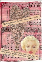 Art: Hearts Always Break When Someones Untrue original collage ACEO by Artist Nancy Denommee