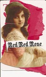 Art: Red Red Rose original collage ACEO by Artist Nancy Denommee