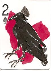 Art: Crow with Heart #2 original  ACEO collage by Artist Nancy Denommee