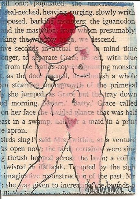 Art: Virginia Woolf Nude #1 original mixed media ACEO painting by Artist Nancy Denommee