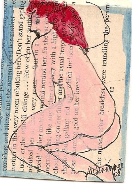 Art: Virginia Woolf Nude # 2 ACEO mixed media painting by Artist Nancy Denommee