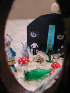 Detail Image for art Sold - Alice's Misadentures in the Wrong Wonderland - a peekaboo Shadow Box