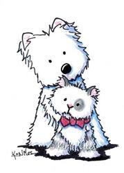 Art: Westie With Tillman by Artist KiniArt