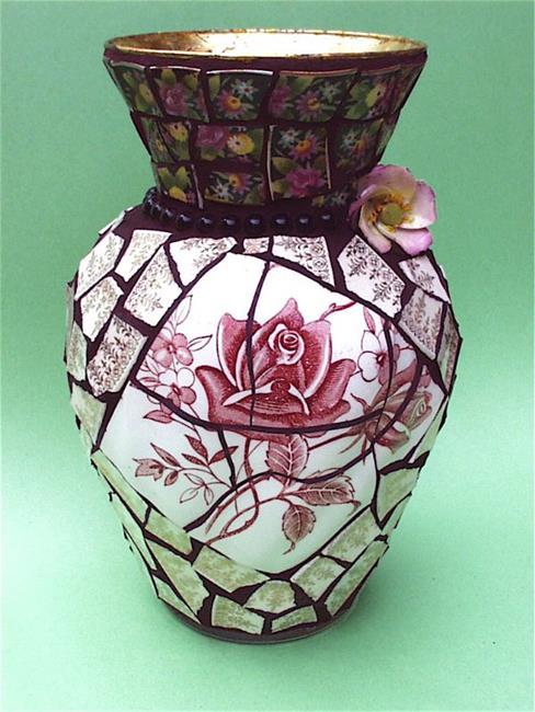 Art: Tudor Roses china pique assiette mosaic flower vase (SOLD) by Artist Laura Winzeler