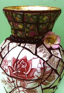 Detail Image for art Tudor Roses china pique assiette mosaic flower vase (SOLD)