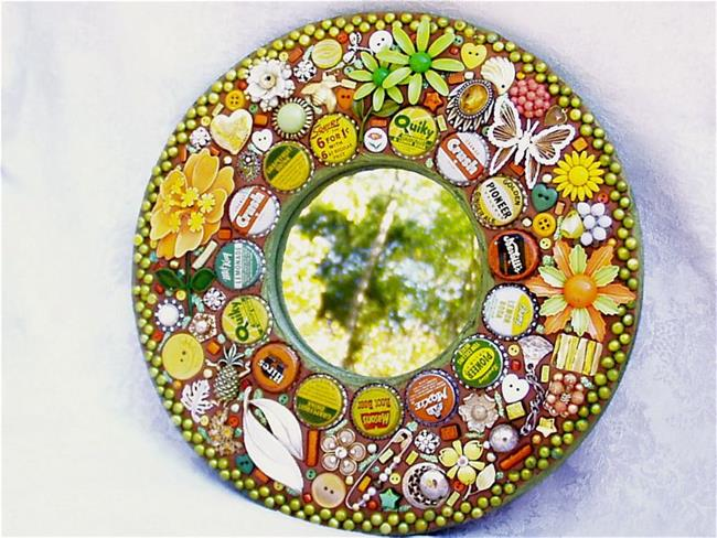 Art: Vintage soda pop top and enamel flower pins jewelry mirror (Available) by Artist Laura Winzeler