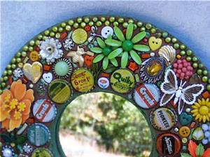 Detail Image for art Vintage soda pop top and enamel flower pins jewelry mirror (Available)