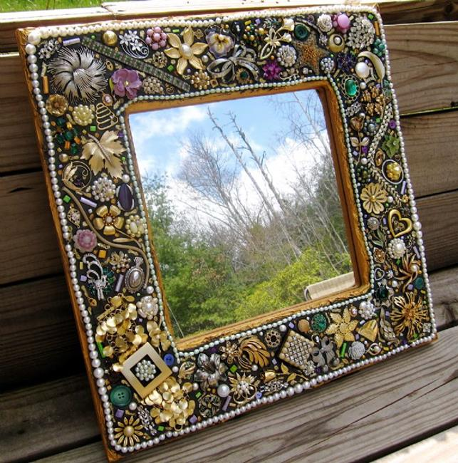 Sunflower plaate by naquaiya from mosaics art gallery for What to do with broken mirror pieces
