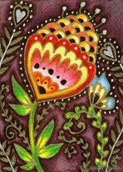 Art: Cheerful Conversation ACEO - Available by Artist Carmen Medlin