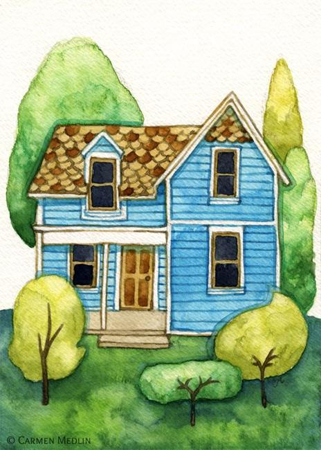 Art: Little Blue House - Available by Artist Carmen Medlin