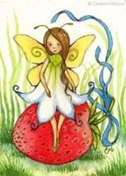 Art: Fairy on a Berry ACEO - Available by Artist Carmen Medlin