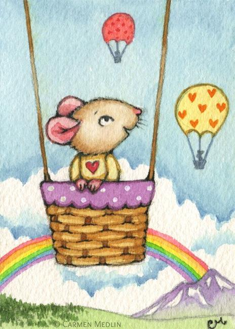 Art: Balloon Ride ACEO by Artist Carmen Medlin