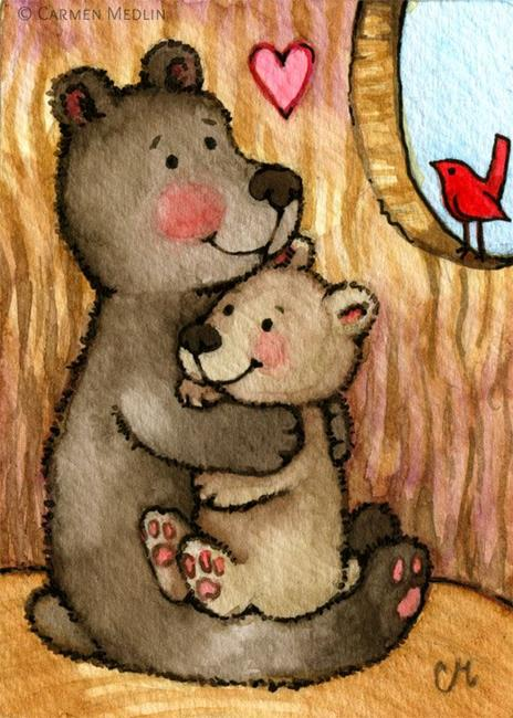 Art: Bear Hugs ACEO - Available by Artist Carmen Medlin